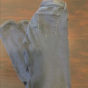 AG Stretch gummy skinny mid rise jeans denim dark